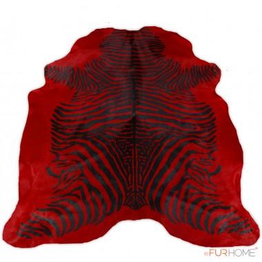 Zebra Animal Print μαύρο κόκκινο δέρμα χαλί