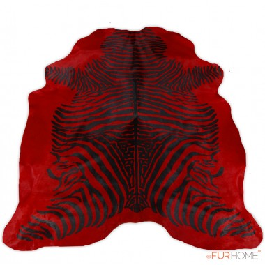 Zebra Animal Print  black on red real Cowhide Rug