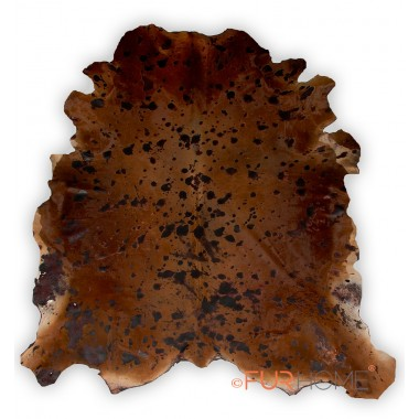 Cowhide Rug Brown light brown with dark brown spots (baio-mokka)