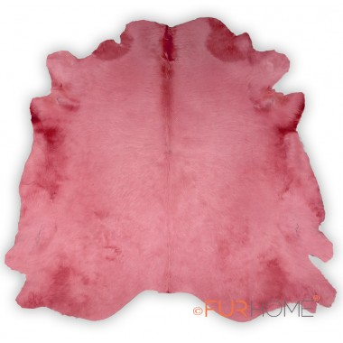 PINK COWHIDE RUG  IN ANIMAL SHAPE LARGE HIDE -ROSA