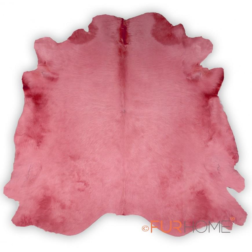 PINK COWHIDE RUG  IN ANIMAL SHAPE LARGE HIDE -ROSA