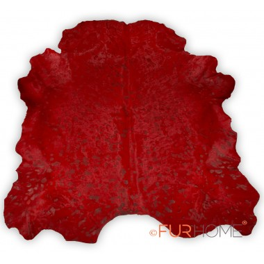 Red cowhide rug in animal shape