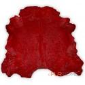 Red cowhide rug in animal shape big size
