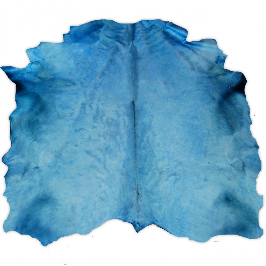 Turquoise Dyed Contemporary Large Cowhide Rug