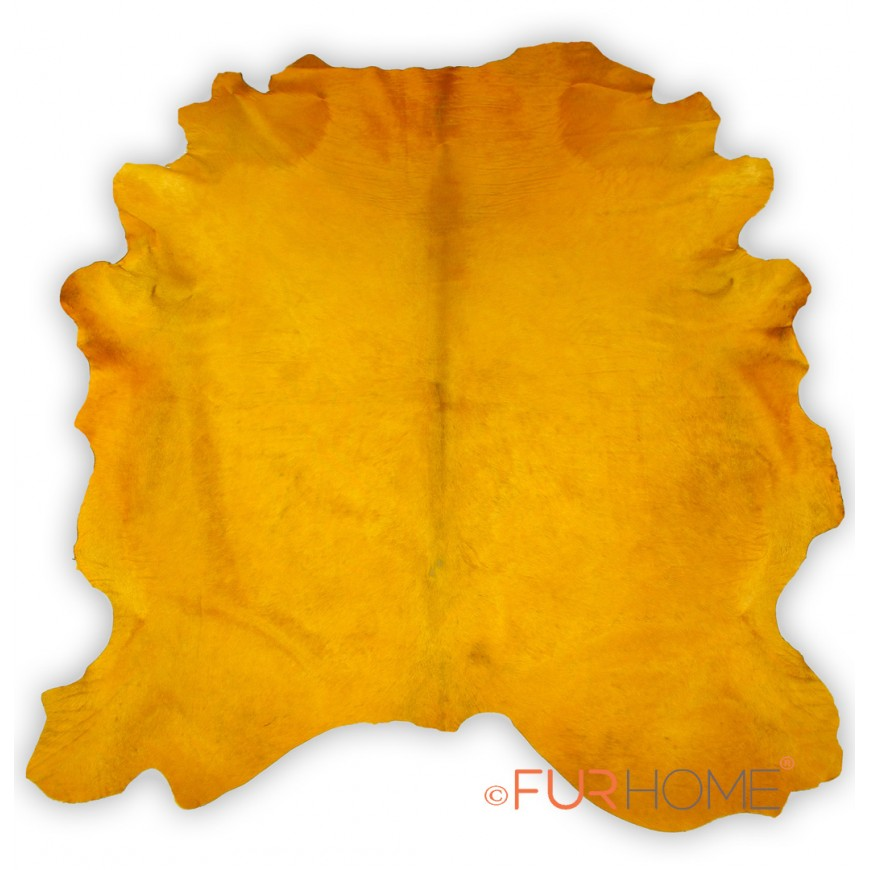 yellow cowhide rug large size in free design