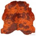 πορτοκαλί  μπορντώ δέρμα χαλί αγελάδος μεγάλο ακανόνιστο σχήμα