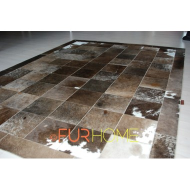 COWHIDE RUG  OLIVE GREY WHITE ALPEN IN PANELS 20X20 CM FR