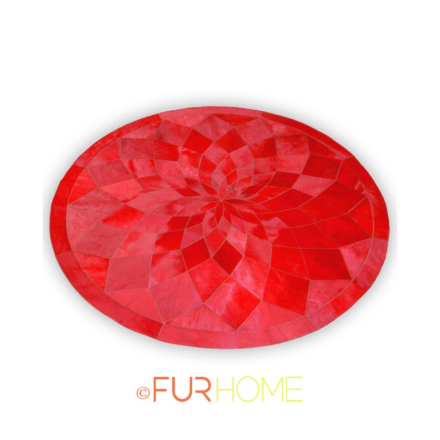 RED COWHIDE RUG CIRCLE DIAMOND