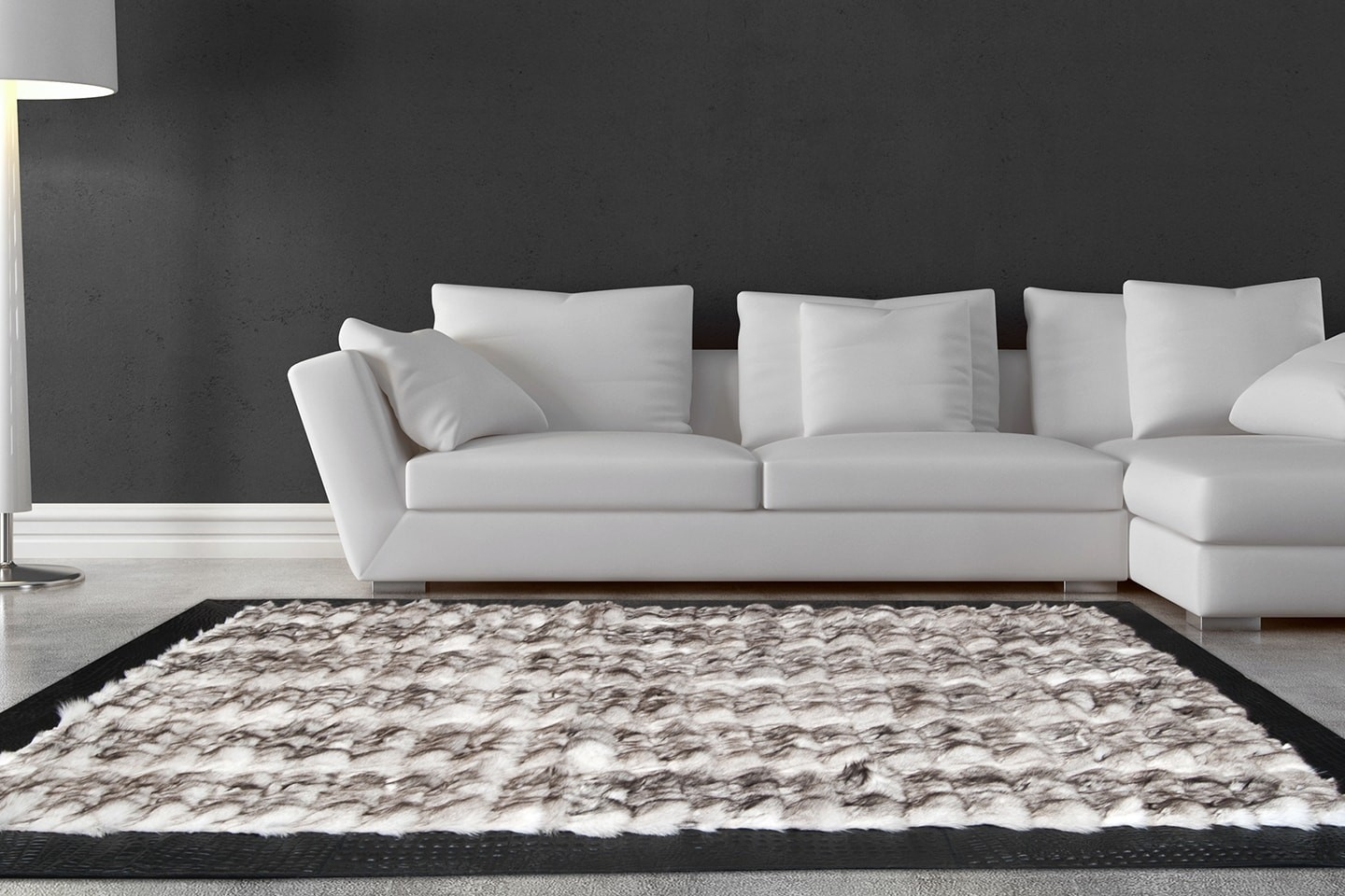 Grey White Snow Fox Fur Rug With Leather Frame Fur Home
