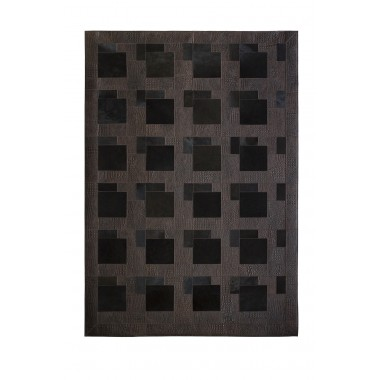 Dark Brown Leather & Pony skin Puzzle Rug topdown