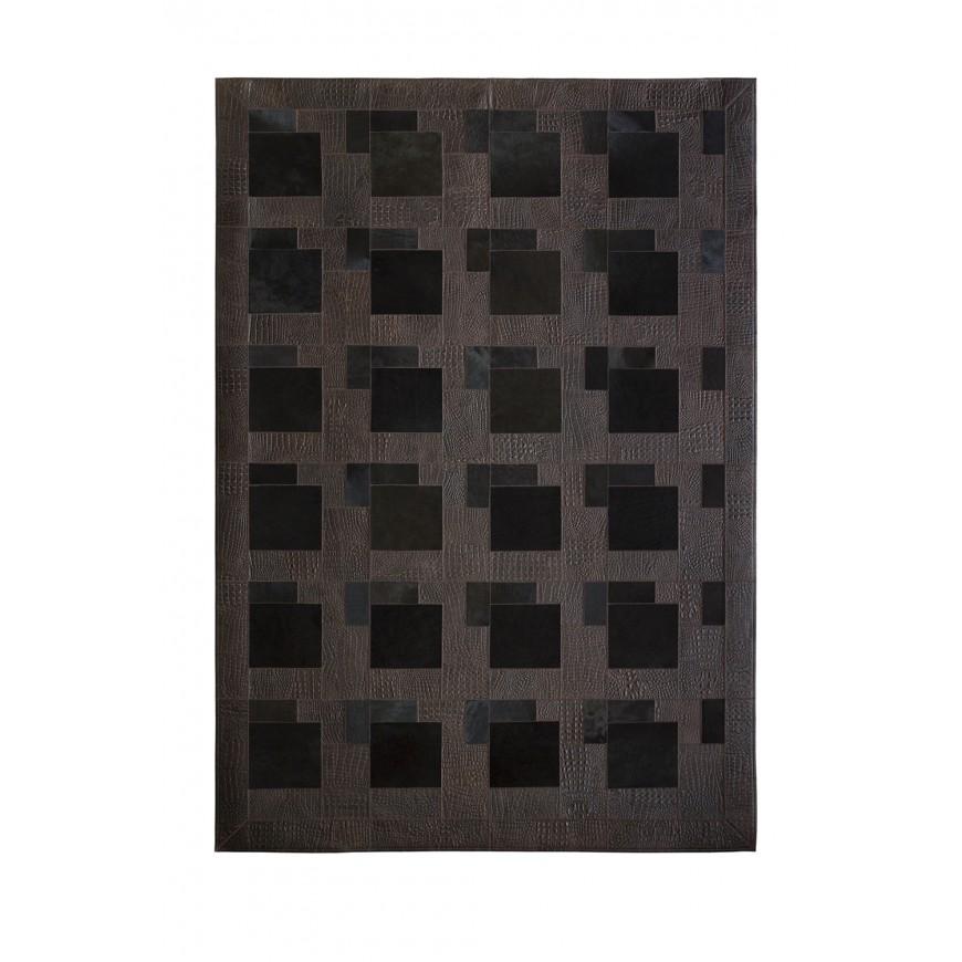 Dark Brown Leather & Pony skin Puzzle Rug