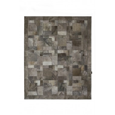 Δερμάτινο χαλί  k-1915  olive grey puzzle