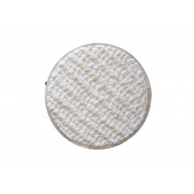 WHITE - IVORY ROUND  FOX FUR RUG
