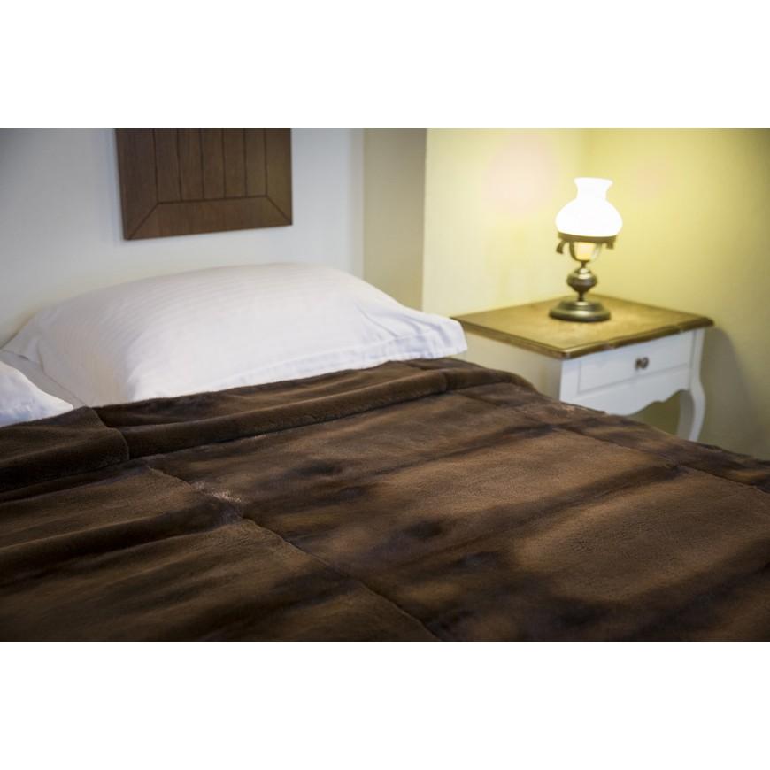 Dark Brown Mink Plucked Fur Blanket