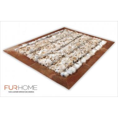 wolf natural rug
