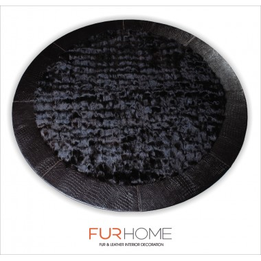 BLACK ROUND  FOX FUR RUG