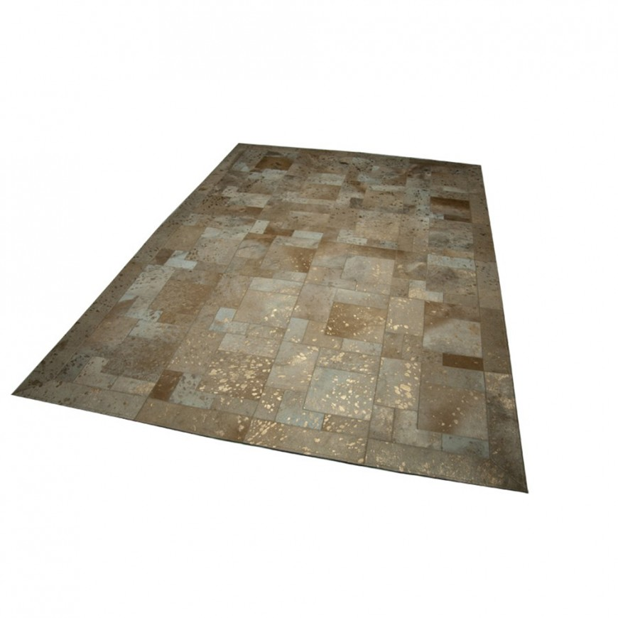Gold beige patchwork rug puzzle  golden