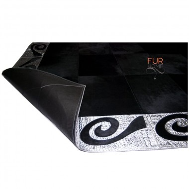 silver black patchwork rug cowhide leather art 1