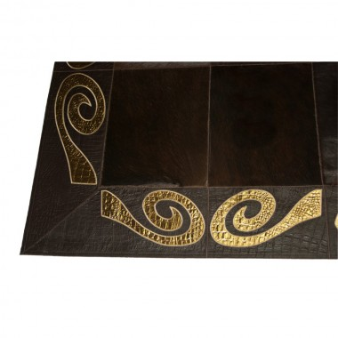 gold dark brown patchwork rug cowhide leather art 1