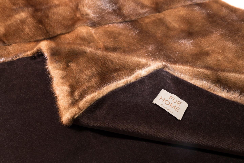 Fur Blanket Real Mink Brown Handmade Fur Home