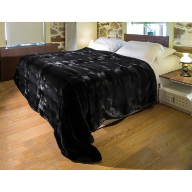 Black Mink  Fur Blanket Throw Bedcover