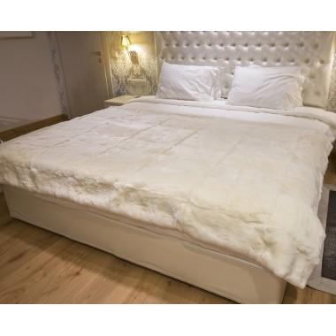 Weiße Rex-Kaninchen Pelz-Decke