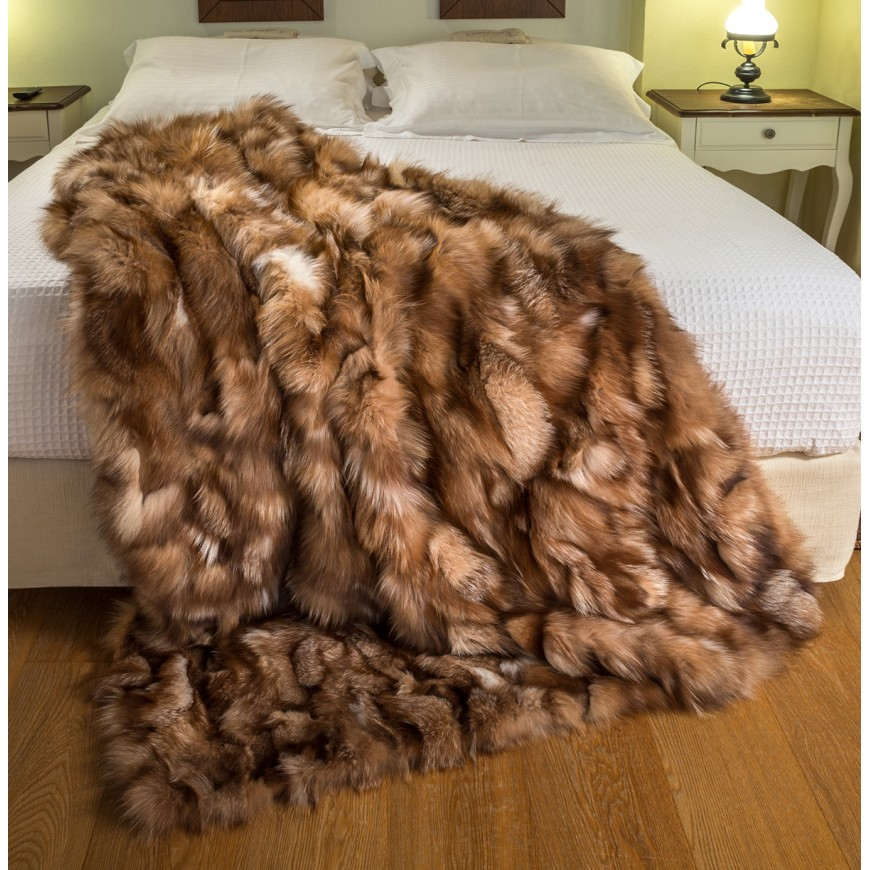 crystal real fox fur throw 3