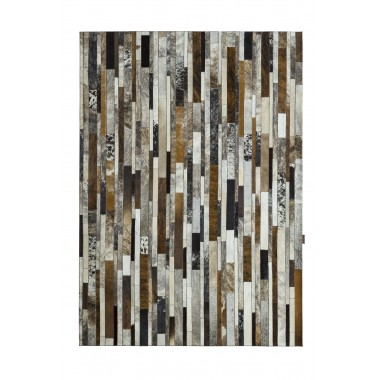 patchwork cowhide rug stripes grey - ivory- brown