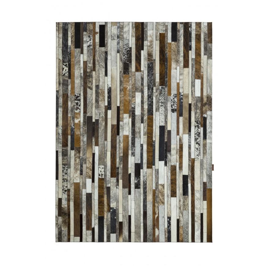 patchwork cowhide rug stripes grey - ivory- brown