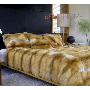 Red Fox Fur Blanket 140 x 200 cm