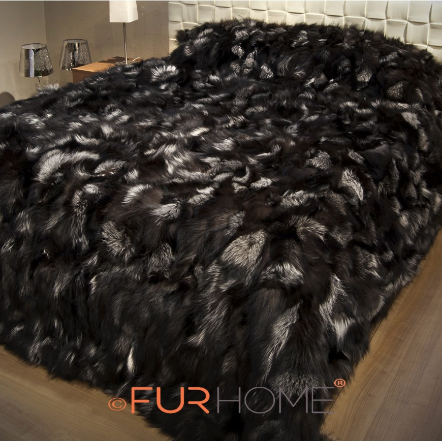 Silver Fox Fur Blanket 140 x 200 cm