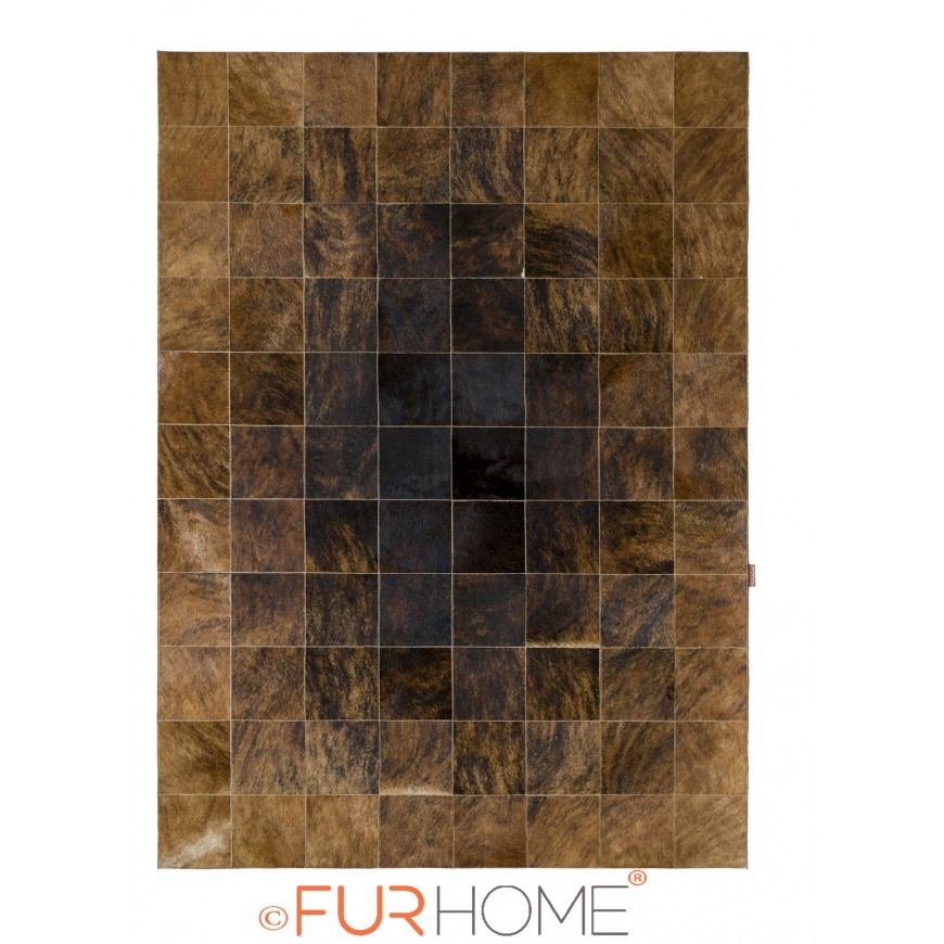 patchwork cowhide rug 20 DARK brown - BEIGE