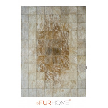 patchwork cowhide rug 20 medium brown white