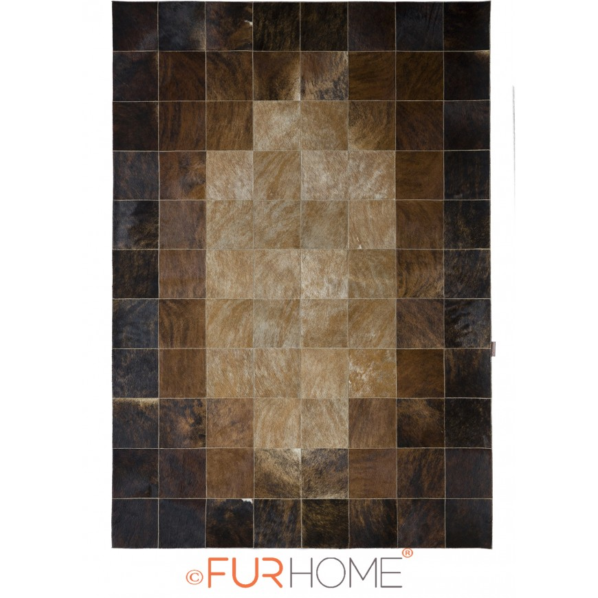 patchwork cowhide rug 20 medium brown Dark