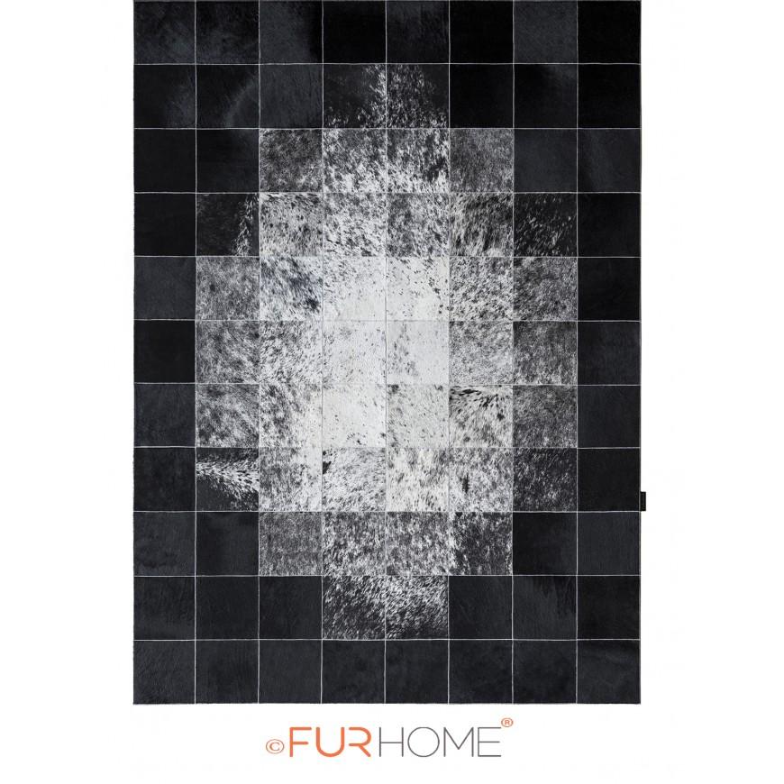 patchwork cowhide rug 20 IVORY BLACK