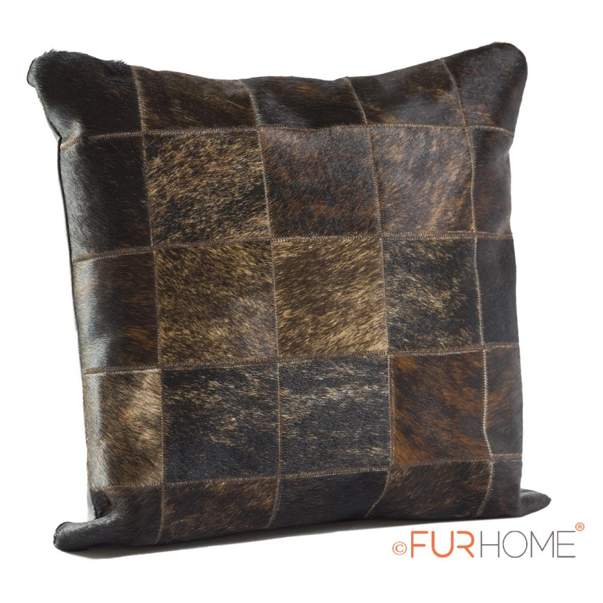 cowhide leather cushion brindle dark brown ex.dark 10
