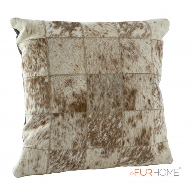 cowhide cushion white brown 10