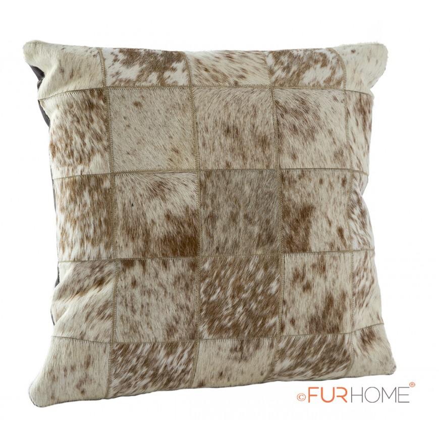 cowhide cushion white brown spot 10