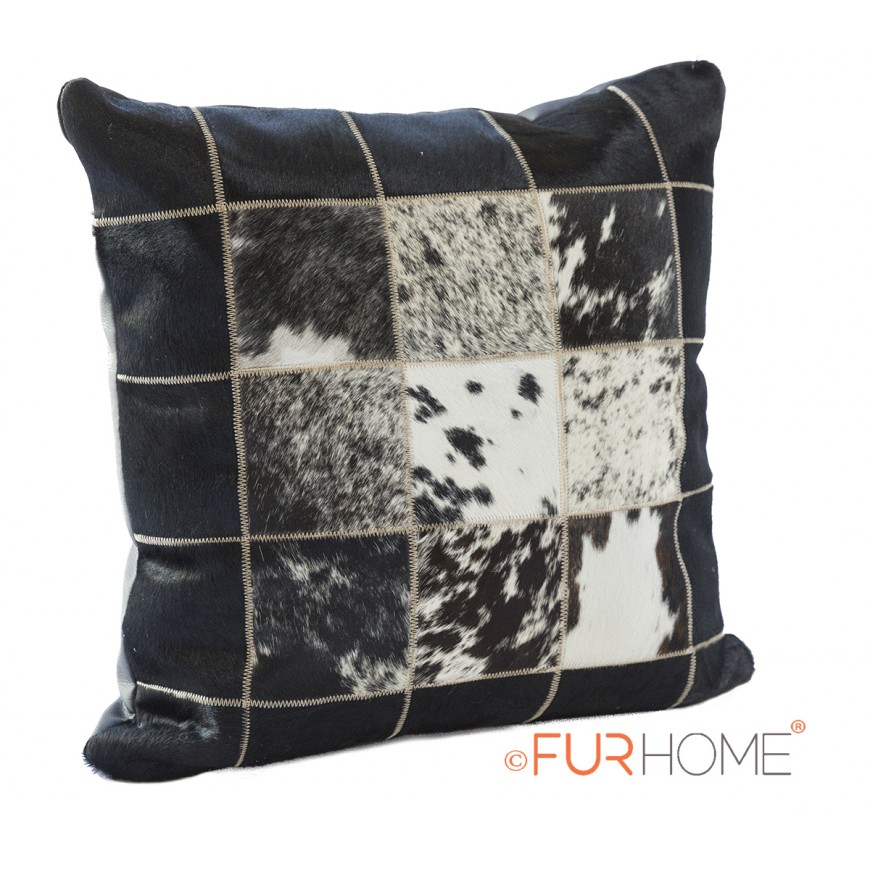 cowhide cushion white black speckled spot  10