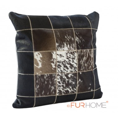 cowhide cushion white black brown speckled spot  10