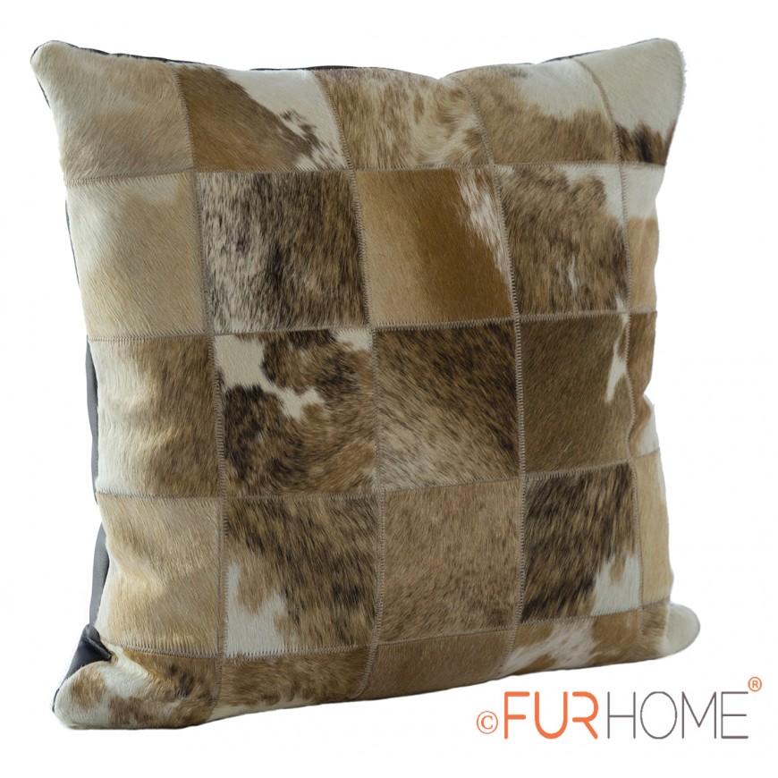 cowhide cushion beige brown spot  10 natural
