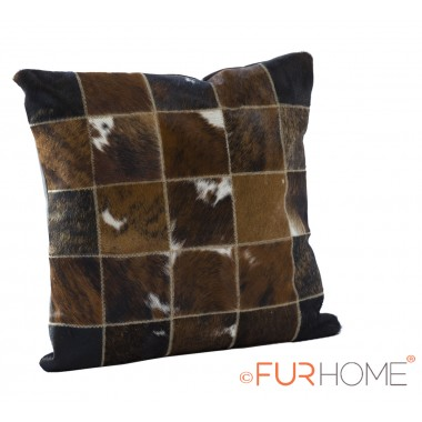 cowhide cushion natural brown spot white  10