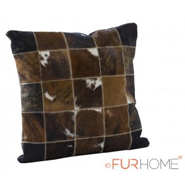 cowhide cushion natural brown spot white  10