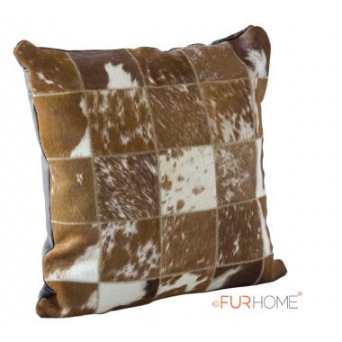 δερματινο μαξιλαρι μπεζ καφέ σπότ  φυσικο ασπρο  - pony skin
