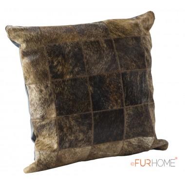 δερματινο μαξιλαρι σκούρο καφε μπεζ φυσικο  - pony skin