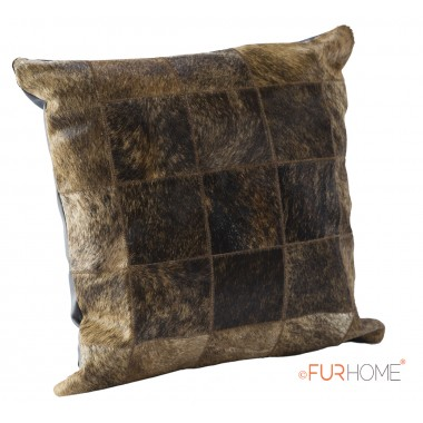 cowhide cushion natural dark brown beige 10
