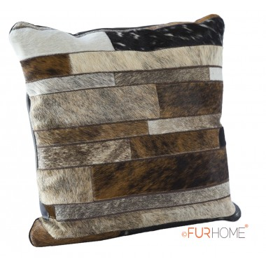 cowhide cushion stripes dark brown ivory grey  natural 10