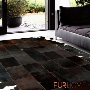 patchwork cowhide rug k 130 redish