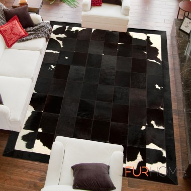 patchwork cowhide rug  black brown white k-1701