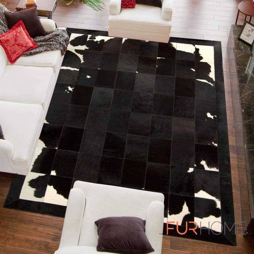 patchwork cowhide rug k-1701 black-brown-white